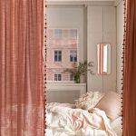 Floor Bed With Soft Pink Quilt Cover Dusty Pink Curtains With Decorative Pompoms