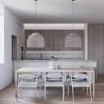 Light Wood Dining Table Dining Chairs With Light Wood Frame And White Cushions Stunning Pendants With Huge Lampshades