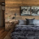Modern Rustic Bedroom Idea Wood Platform Bed With Gray Bedding Treatment And Shag Blanket Wood Plank Walls