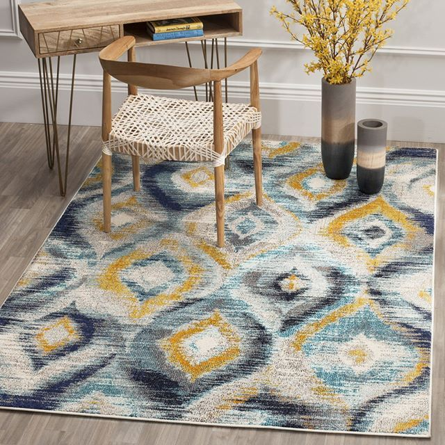 multicolored area rug with cool modern motifs