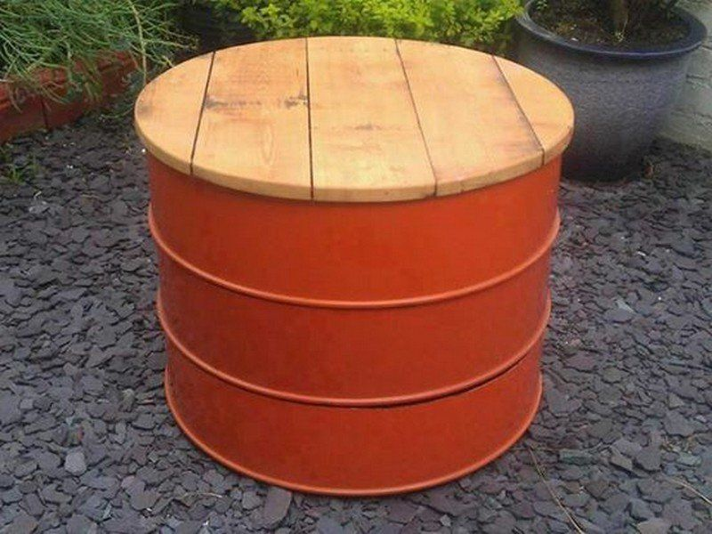 round wood top oil drum idea in orange
