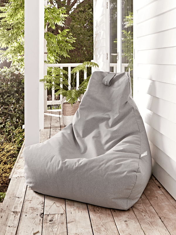 soft grey beanbag for outdoor space