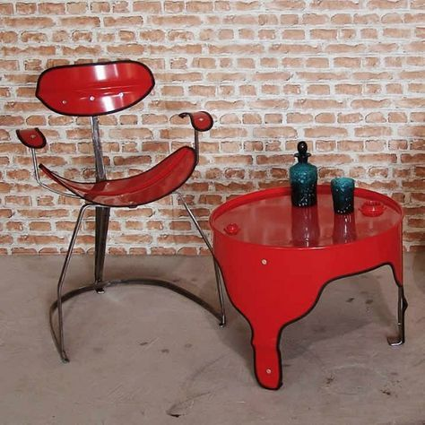 stunning oil drum furniture set in red