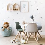 Scandinavian Playroom For Kids Soft Color Chairs With Angled Wood Legs Round Shaped Flat Woven Rug Soft Blue Basket For Animal Stuffs