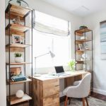 Scandinavian Style Working Space With Woodeng Working Desk Gray Working Chair Wood Shelving Units With Black Metal Frames Modern Area Rug