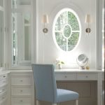 Airy And Bright Makeup Area With Built In Dressng Table And Drawer System Light Blue Chair