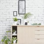 Brick Wall In White Light Wood Cabinets
