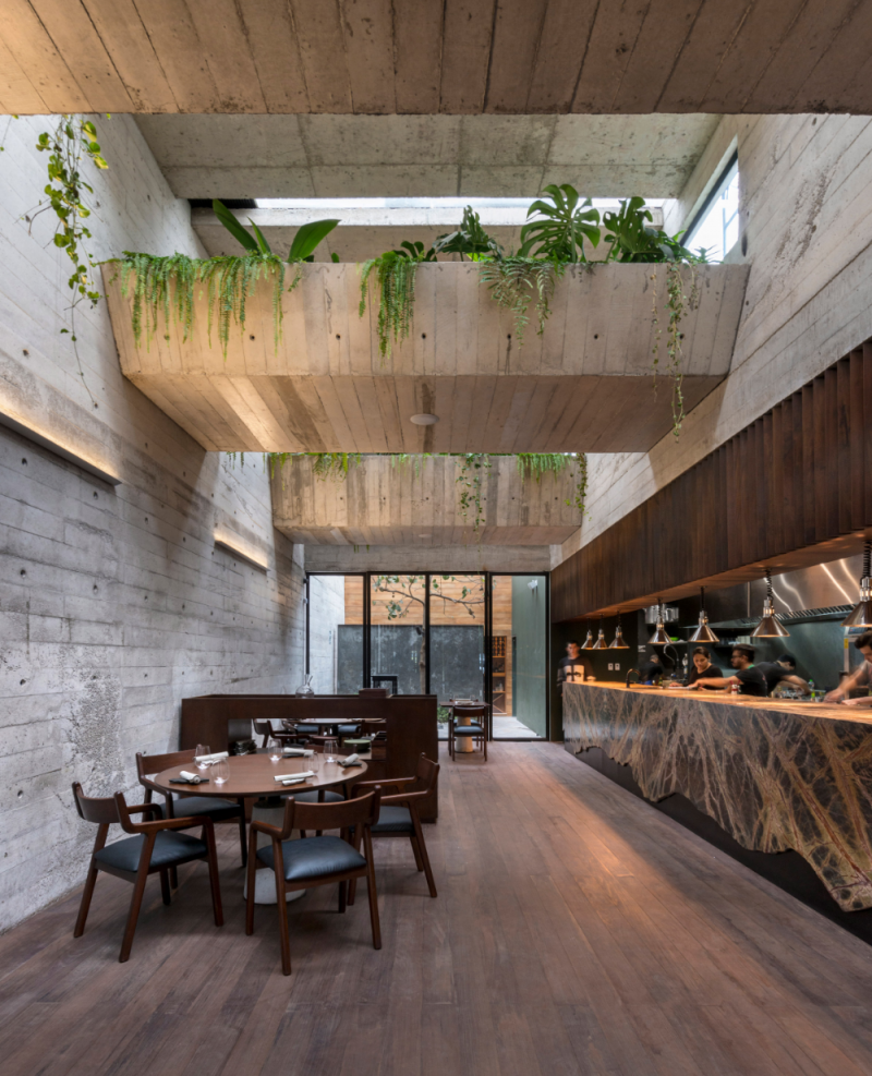 chunky concrete walls brigde of garden on top wood floors bar with extra large countertop and amazing light fixtures