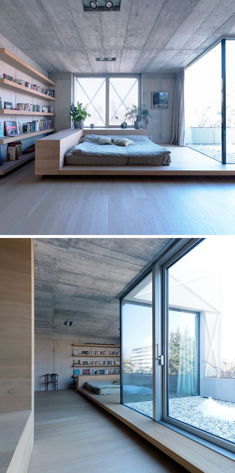 contemporary loft design with floor bed and wood bookshelves