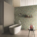 Cool Geometric Wall Decal Modern White Bathtub Black Side Table