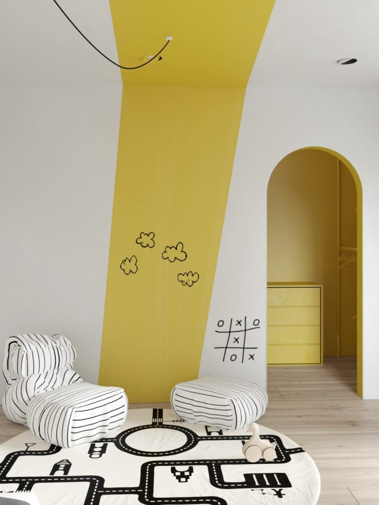 cool kids' room wall paint in white yellow unique sofa in striped white black striped white black footrest round shaped rug with black patterns