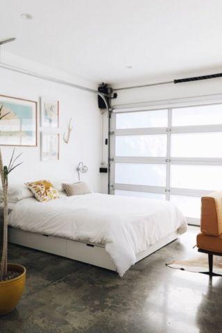 cozy bedroom in garage conversion