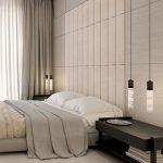 Elegant Minimalist Bedroom Design Light Toned Floors Gray Draperies White Inner Draperies Contemporary Hanging Light Fixtures Clean Line Bedside Table In Black