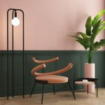 Fabulous Accent Chair In Soft Pink With Spiral Backrest Light Pink Planter For Tropical Houseplant Modern Side Table With Light Pink Top Light Pink Walls