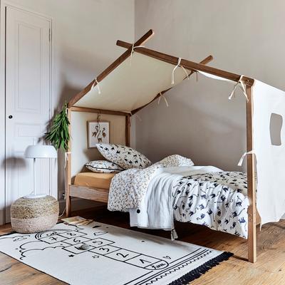 house framed bed frame with cover black white bedding treatment black white rug with black tassels