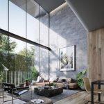 Large Open Space With Modern Living Room Gray Area Rug Wood Floors Extra Large Glass Windows With Metal Trims