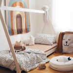 Light Wood Tepee With Mattress White Blanket And Pillow With Black Polka Dots