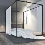 Minimalist Bedroom Idea Floor Bed Frame With Canopy And Draperies Gray Rug Dark Wood Floors