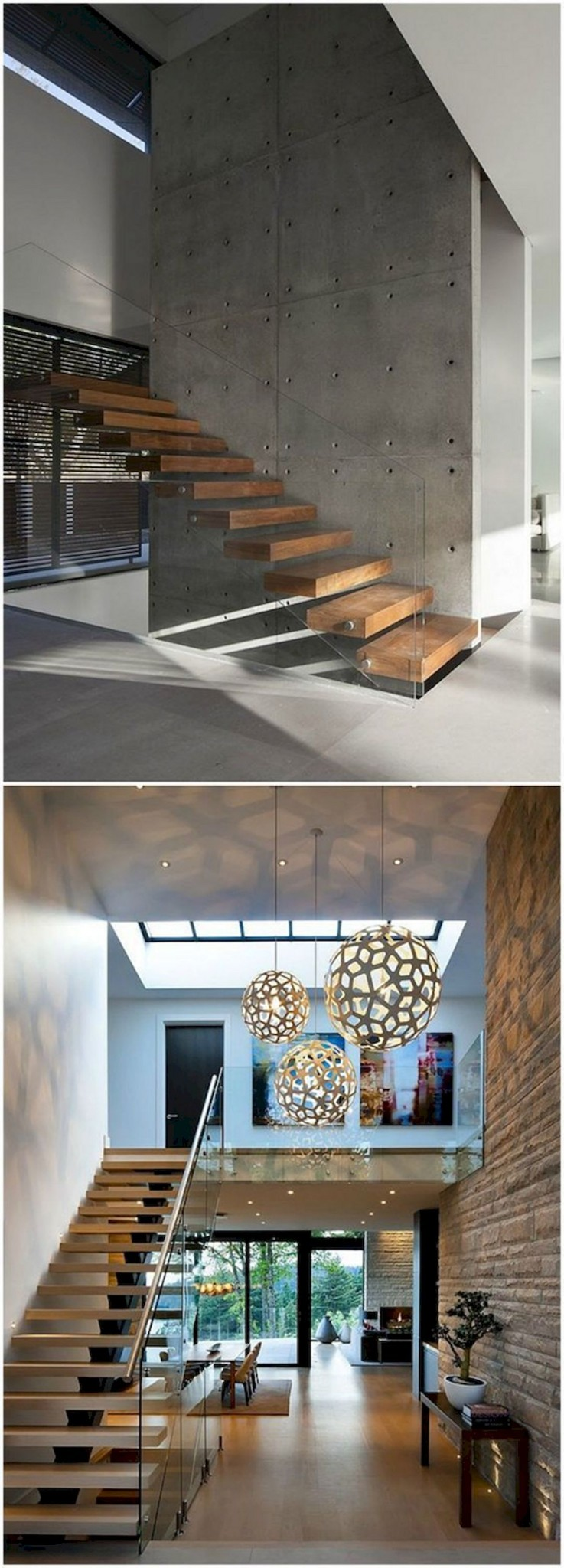 modern open space design with amazing staircase supported with clear glass railings