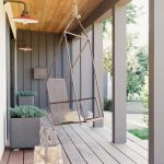 Modern Terrace Idea With Wood Plank Floors Big Planters Modern Hanging Chair