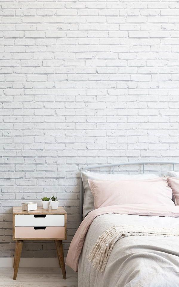 purely white brick wall classic bed frame with headboard midcentury modern bedside table
