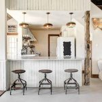 Rustic Modern Breakfast Nook With Round Top Stools White Kitchen Island White Sofa Slipcover Rustic Pendants