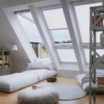Simple And Clean Attic Bedroom With Huge Skylight Floor Bed In White Simple Bookshelves In White