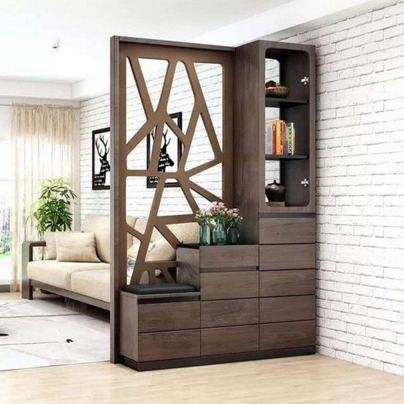 simple yet stylish wood partition with shelves