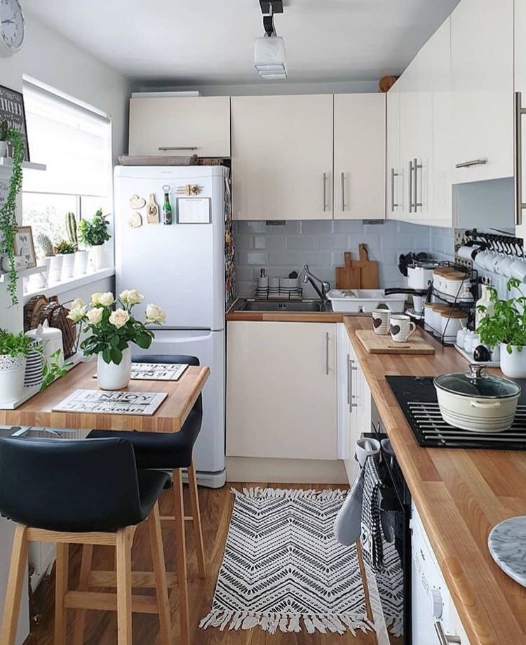small kitchen design with tribal pattern runner breakfast nook