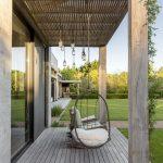 Small Modern Terrace Design Rattan Hanging Chair Wood Plank Floors Beautiful Utdoor Chandelier