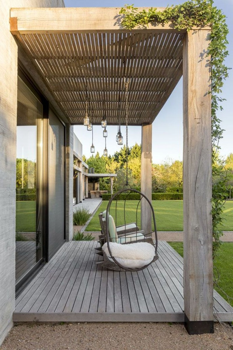 small modern terrace design rattan hanging chair wood plank floors beautiful utdoor chandelier