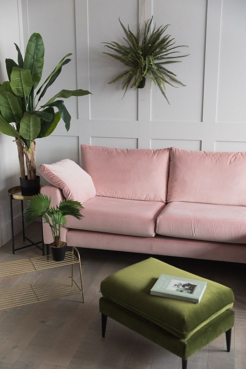 soft blush pink sofa in modern style green stool brass rack for greenery