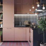 Soft Pink Kitchen Cabinets Geometric Patterned Tile Backsplash Multicolored Tile Floors