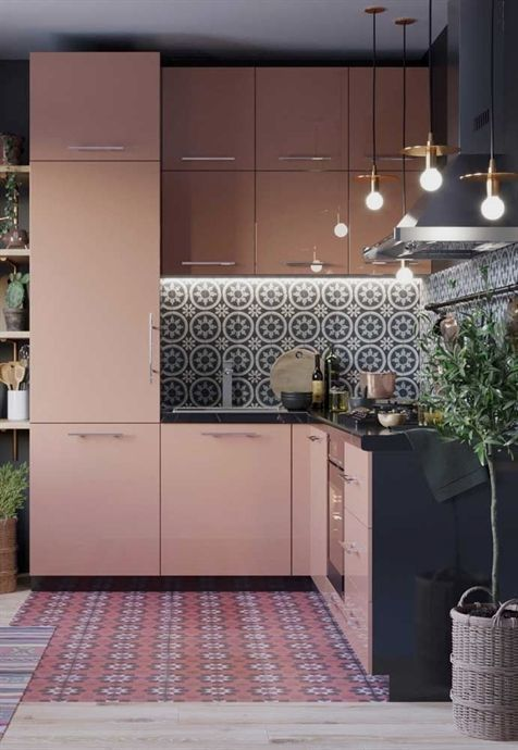 soft pink kitchen cabinets geometric patterned tile backsplash multicolored tile floors