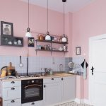Soft Pink Walls Wood Shelving Units Gray Tile Backsplash White Kitchen Cabinets
