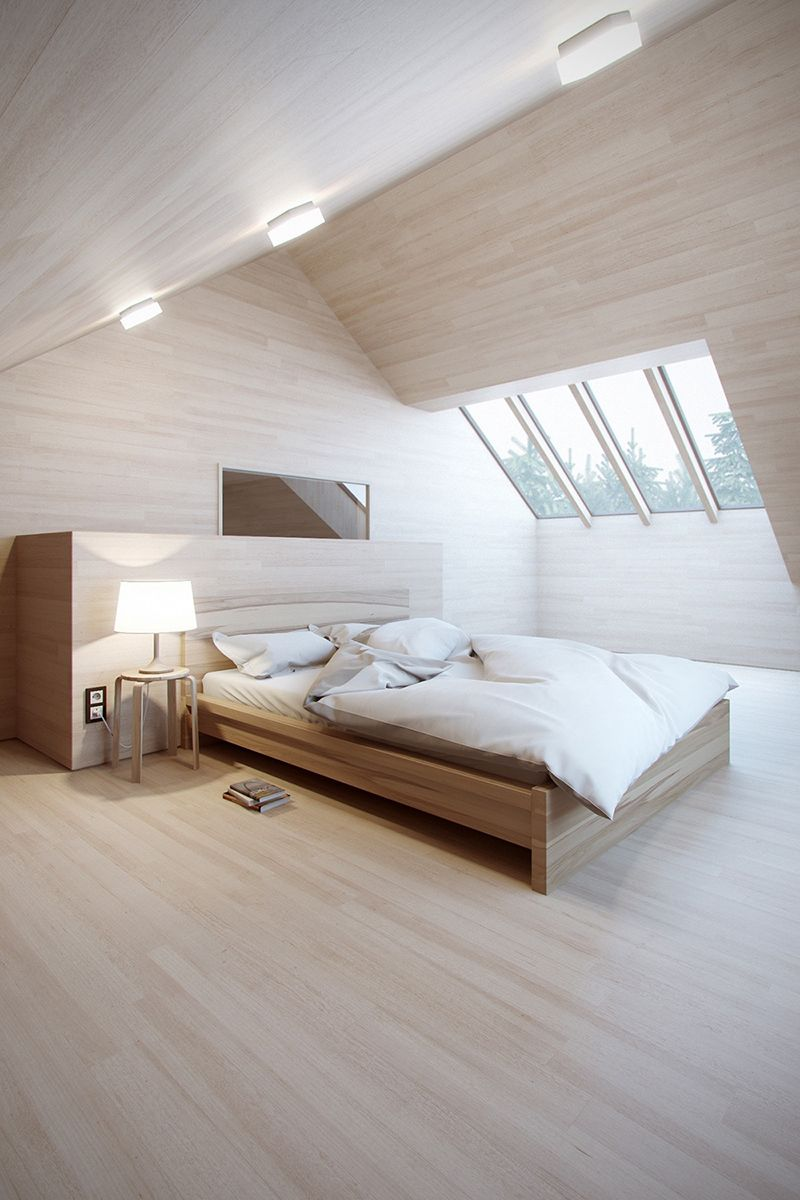 ultra light and airy attic bedroom in minimalist style light wood bed frame white bedding treatment light wood floors and ceilings glass skylights