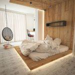 Ultra Modern Bedroom Idea With Hidden Lighting Under Wood Platform Bed Egg Hanging Chair Simple Modern Shelving Unit In Black