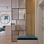 Ultra Modern Partition Made Of Black Metal Blurred Acrylic And Natural Wood
