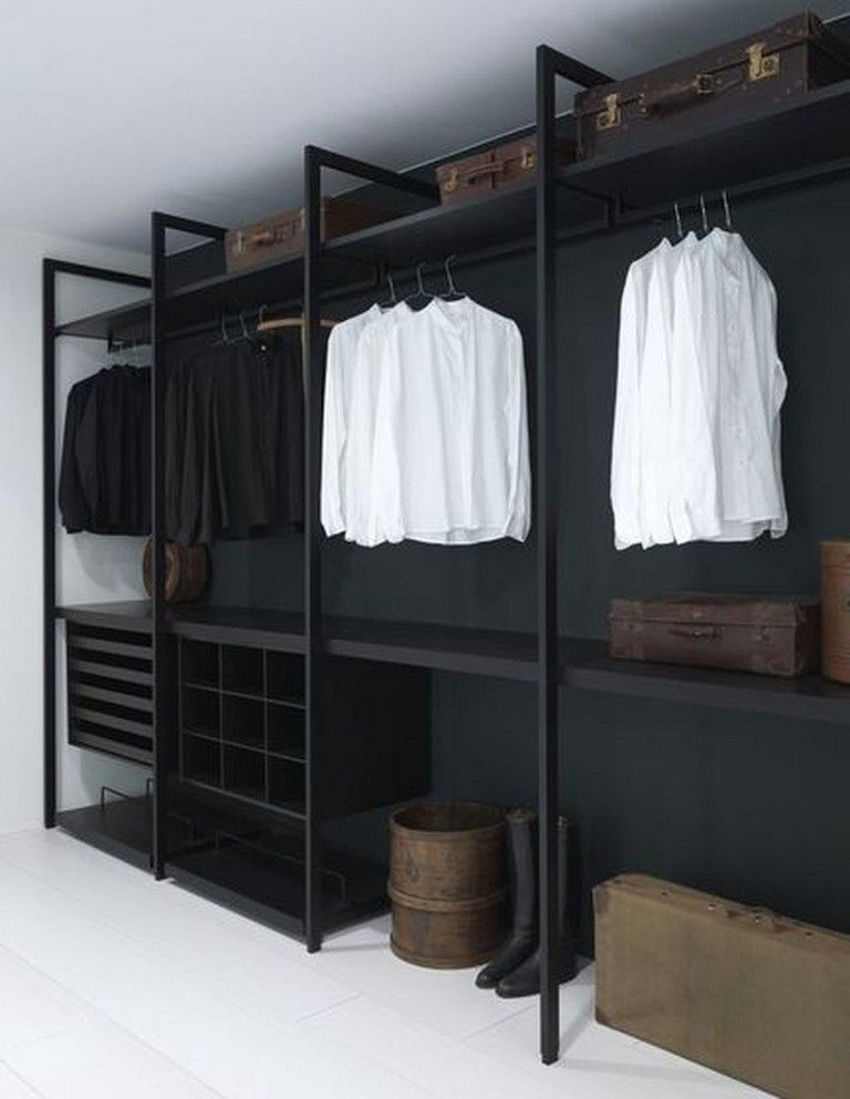 walk in closet idea in the basement