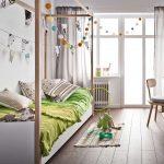 Wood Canopy Bed Frame For Girl's Room Green Bedding Linen