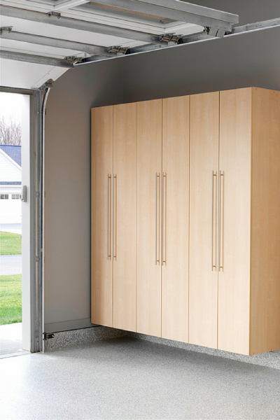 wood garage cabinet idea with handlers