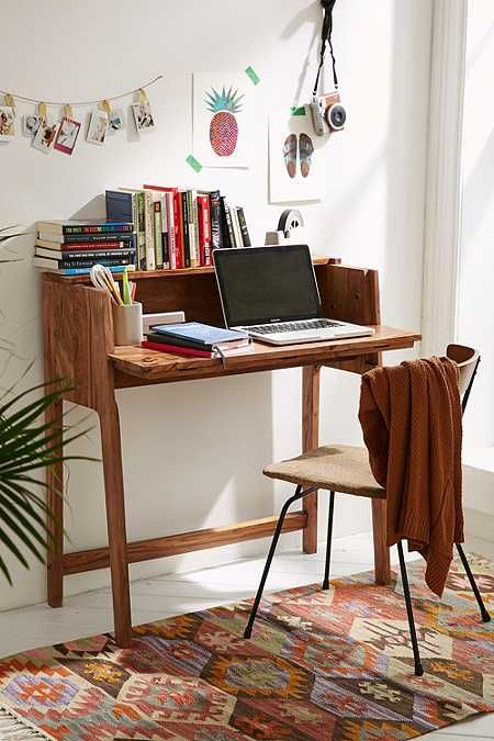 Mid century folding desk made from wooden slim working chair