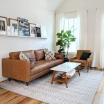 Nord Style Living Room For Small Space Leather Sofa With Scandinavian Style Throw Pillows White Top Coffee Table White Textural Area Rug Houseplant On Pot Earthy Brown Chair With Black Throw Pillow