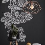 Chalkboard Wallpaper With Flowers Black Scandinavian Style Chair With Pointed Wood Legs