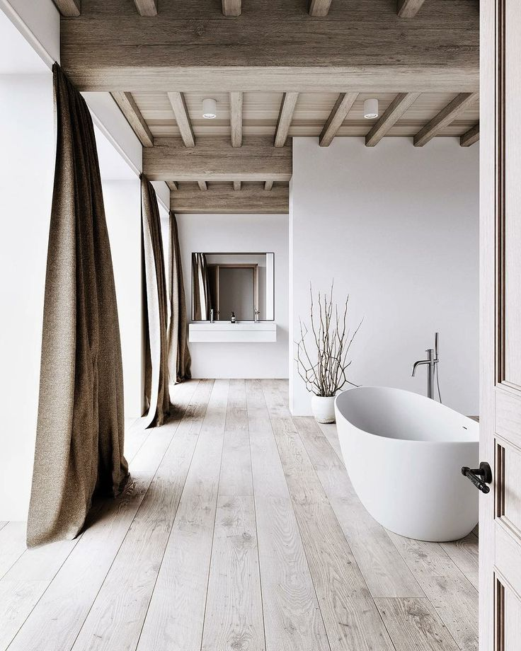 clean and bright bathroom design white bathtub floating bathroom vanity with square shaped mirror ultra light wood floors earthy brown draperies