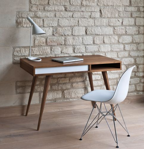 cool midcentury modern working desk with angled and tapered legs and slim countertop midcentury modern chair in white