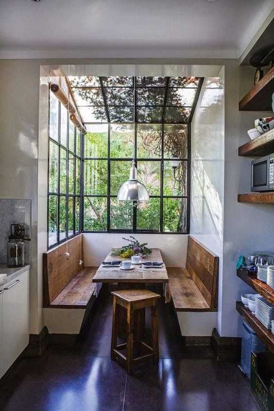 eat in kitchen design with wood bench seats with back rest wood dining room wood stool industrial style glass windows