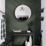 Emerald Green Walls Black Console Table Green Velvet Stool Whitewashed Herringbone Tile Floors