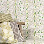Floral Wallpaper In Green And Gray