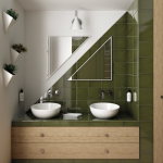 Green Olive Tile Backsplash With White Framed Mirrors In Triangle Shape White Walls With Frameless Triangle Mirror A Couple Of White Sinks